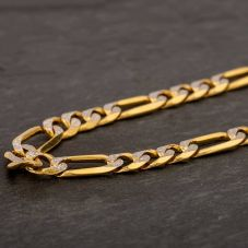 "Second Hand 9ct Yellow Gold 20"" 2 Colour Figaro Chain HGM43/04/04(10/19)"