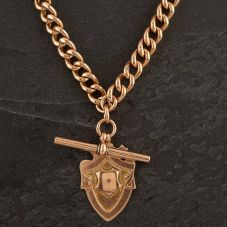 Second Hand 9ct Yellow Gold Albert T-Bar Rose Gold Chain