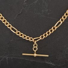 "Second Hand 9ct Yellow Gold 16"" Albert T-Bar Necklace"