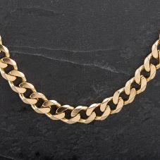 """Second Hand 9ct Gold 26"""" Heavy Flat Curb Necklace"""