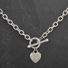 Second Hand 9ct White Gold 16 inch Diamond Heart Necklace 4104287