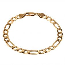 Second Hand 9ct Yellow Gold Flat Curb Figaro Chain Bracelet