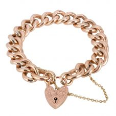 Second Hand 9ct Rose Gold Hollow Curb Chain Bracelet