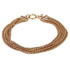 Second Hand 9ct Yellow Gold Four Row Curb Chain Bracelet