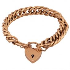Second Hand 9ct Yellow Gold Hollow Double Curb Chain Bracelet