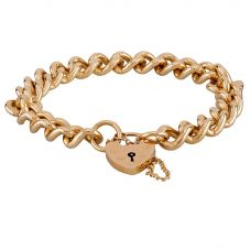 "Second Hand 9ct Yellow Gold 8"" Heavy Padlock Curb Chain Bracelet"