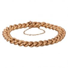 """Second Hand 9ct Yellow Gold 7"""" Hollow Curb Chain Bracelet"""