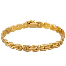 "Second Hand 9ct Yellow Gold 7.5"" Three Layer Brick Patterned Link Bracelet HGM20/01/01(01/19)"