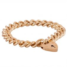 Second Hand 9ct Yellow Gold Heavy Curb Chain Padlock Bracelet