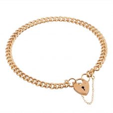 "Second Hand 9ct Yellow Gold 7"" Curb Chain Padlock Bracelet"