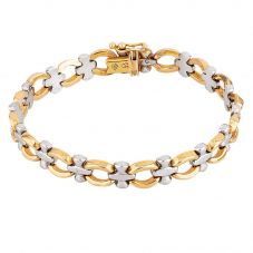 "Second Hand 18ct Two Colour Gold 7.4"" Link Bracelet T605515(451)"