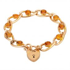 "Second Hand Yellow Gold 7.5"" Citrine Heart Padlock Fancy Chain Bracelet L511582(456)"
