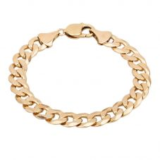Second Hand 9ct Yellow Gold Flat Curb Chain Bracelet