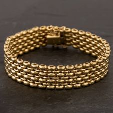 Second Hand 9ct Yellow Gold 7.5 Inch Seven Row Brick Link Bracelet