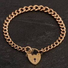 Second Hand 9ct Yellow Gold Hollow 7.5 Inch Curb and Heart Padlock Bracelet