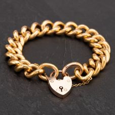 """Second Hand 9ct Yellow Gold 7.5"""" Large Hollow Link Curb Bracelet With Padlock & Safety Chain"""