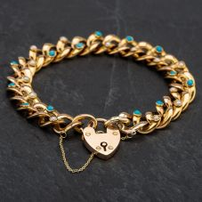 Second Hand Turquoise & Seed Pearl Hollow Curb Bracelet With Padlock