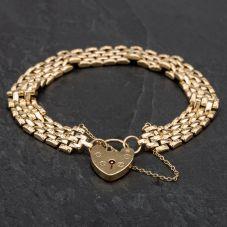 """Second Hand 9ct Yellow Gold 7"""" 5 Row Brick Design Link Bracelet With Padlock And Saftey Chain"""