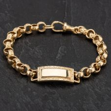 "Second Hand 9ct Yellow Gold 7.5"" Belcher Engraved & Plain Link Identity Bracelet"