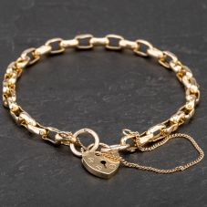 Second Hand 9ct Yellow Gold Belcher Braclet With Padlock and Saftey Chain 4107793