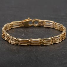 Second Hand 9ct Yellow Gold 6.5 Inch Four Row Chain Bracelet 4107874