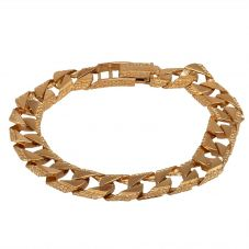 "Second Hand 9ct Yellow Gold 8.5"" Square Shaped Flat Curb Chain Bracelet"