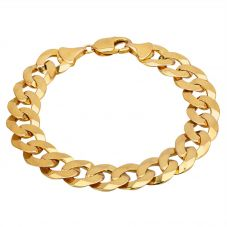 "Second Hand 9ct Yellow Gold 8.5"" Flat Curb Chain Bracelet HGM33/01/02(06/19)"