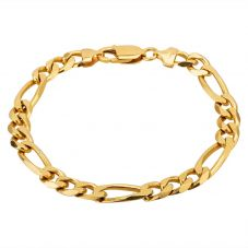 "Second Hand 18ct Yellow Gold 8"" Figaro Chain Bracelet M325259(454)"