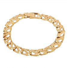 "Second Hand 9ct Yellow Gold 8"" Fancy Curb Bar Chain Bracelet"