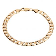 "Second Hand 9ct Yellow Gold 8"" Square Curb Chain Bracelet"