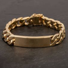 "Second Hand 9ct Yellow Gold 8.5"" Curb Chain Identity Bracelet"