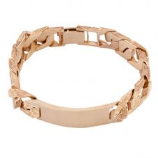 Second Hand 9ct Yellow Gold Square Curb Bark Engraved Chain Bracelet HGM38/01/02(08/19)