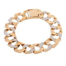 Second Hand 9ct Yellow Gold Cubic Zirconia Curb Chain Bracelet HGM39/01/03(08/13)