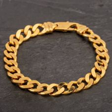 "Second Hand 9ct Yellow Gold 8"" Flat Curb Chain Bracelet"