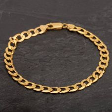 "Second Hand 9ct Yellow Gold 8.5"" Flat Curb Chain Bracelet"