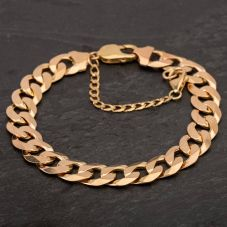 "Second Hand 9ct Yellow Gold 8"" Flat Curb Chain Bracelet 4108159"