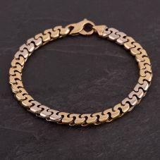 Second Hand 9ct Two Colour Gold 8.5 Inch Heavy Fancy Link Bracelet