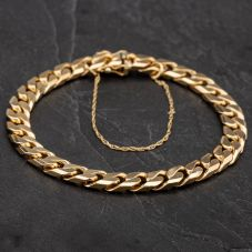 Second Hand 9ct Yellow Gold Chain Curb Bracelet 4108225