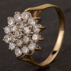 Second Hand 9ct Yellow Gold Cubic Zirconia 3 Tier Cluster Ring