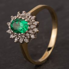 Second Hand 14ct Yellow Gold Tvsavorite & Cubic Zirconia Cluster Ring