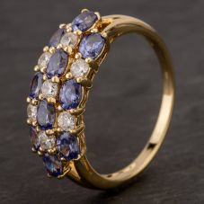Second Hand 14ct Yellow Gold Tanzanite & Cubic Zirconia Three Row Ring