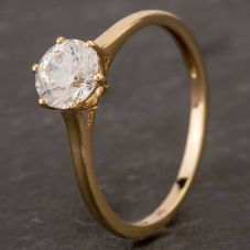 Second Hand 9ct Yellow Gold Cubic Zirconia 6 Claw S/S Ring