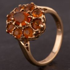 Second Hand 9ct Yellow Gold Oval Citrine Cluster Ring