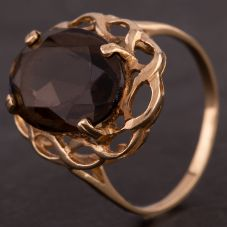 Second Hand 9ct Yellow Gold Large Oval Smokey Quartz Dress Ring