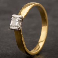 Second Hand 18ct Yellow Gold Square Cut Diamond Ring 4111015