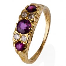 Second Hand 18ct Yellow Gold Ruby and Diamond Ring 4111063