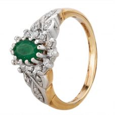 Second Hand 9ct Yellow Gold Emerald and Diamond Cluster Ring LOT205(12/16)