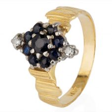 Second Hand Sapphire and Diamond Marquise Cluster Ring 4111213