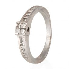 Second Hand 18ct White Gold Princess Cut Diamond Four Stone Ring