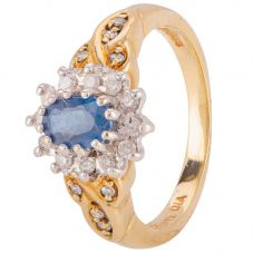 Second Hand 9ct Yellow Gold Sapphire and Diamond Ring 4111524